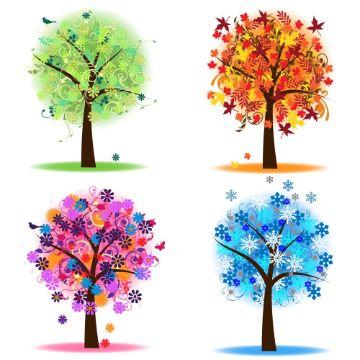dibujos de las estaciones del año a color