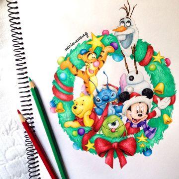 dibujos navideños de disney a colores