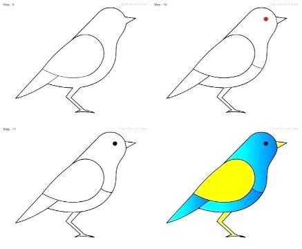imagenes de aves para dibujar paso a paso