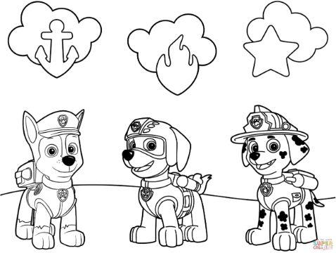 patrulla canina para colorear peronajes