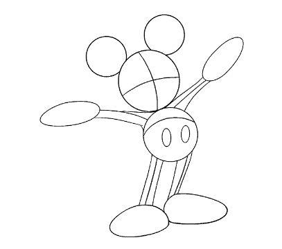 mickey mouse para dibujar con circulos