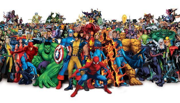 todos los superheroes de marvel posando