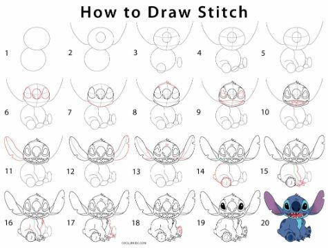 dibujos de stitch para dibujar paso a paso